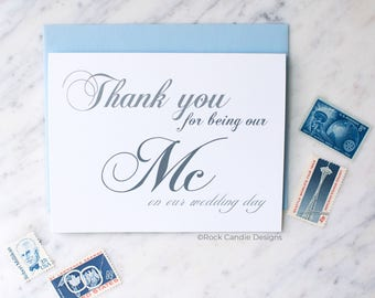 Thank You For Being Our MC On Our Wedding Day Card | Thank You For Being Our DJ | Card for Disc Jockey | Wedding Band Thank You | Greeting