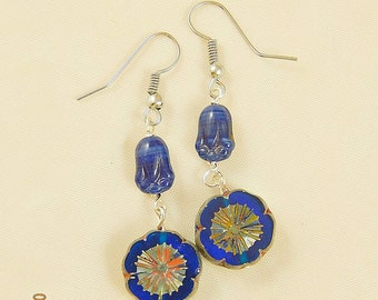 Cobalt Blue Czech Beaded Dangle Earrings