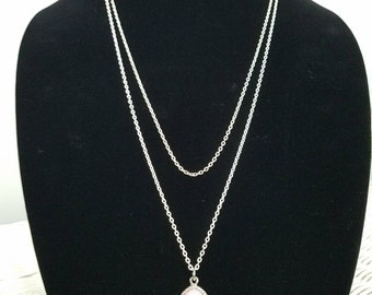 Silver multi tiered layered necklace with light pink druzy crystal charm