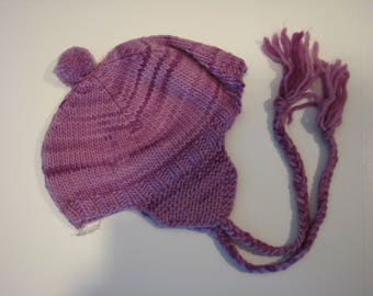 Hand knit wool hat with ear flaps