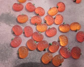 5 Vintage Glass Jack O Lantern Cabochons