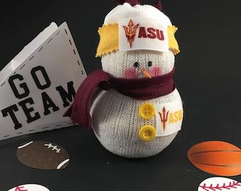 Arizona State Sun Devils,snowman,ASU, Arizona State gift,Arizona State decor,gift for Arizona State Sun Devil fan,Sun Devil fan,sock snowman