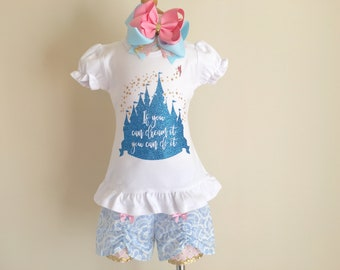 Cinderella Outfit, Cinderella Shirt, Girls Disney Outfit, Princess Outfit, Girls Short Set, Birthday Princess, Disney Trip Outfit, Summer
