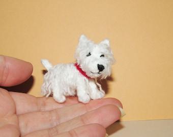 Miniature Westie dog - West Highland White Terrier small dog figure amigurumi dog stuffed toy miniature Crochet dog portrait dog lover gift
