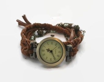 Women's watches boho for wrist , wrap bracelet style, brown and beige suede, charm, white pearls.  -  MO29-