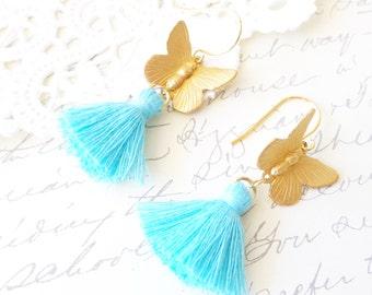 Golden Butterfly Tassel Earrings - Gold Butterfly Earrings - Aqua Blue Tassel Drop Earrings - Butterfly Dangle Earrings - Woodland Butterfly