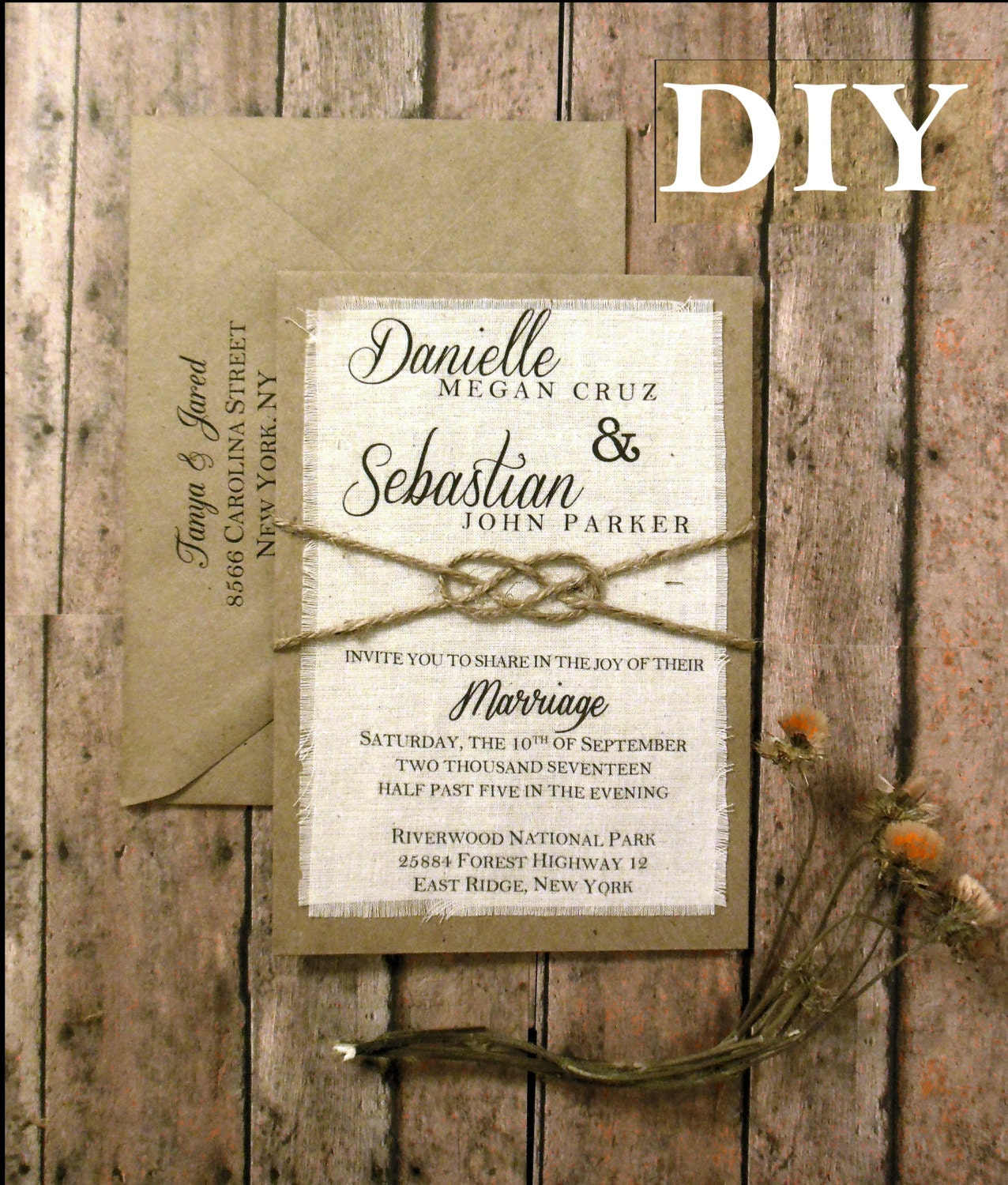Wedding Invitation Diy Kits: DIY Pre Made Rustic Wedding Invitation Kit Tie The Knot