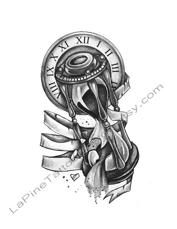 Klok Met Gebroken Zandloper Tattoo Design