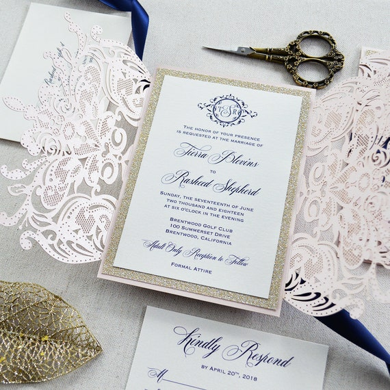 TIERRA GOLD GLITTER-Blush Laser Cut Wedding Invitation with Gold Glitter and Navy Satin Bow - Elegant Laser Cut Invite -Custom Colors