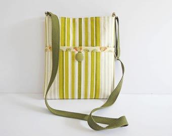 Cross-body Bag, Adjustable Strap, Green Fabric Shoulder Bag, Front Pocket, Fully Lined Interior, Quality Home Decor Fabric, OOAK, UK Seller