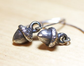 Sterling Silver Miniature Acorn Earrings, Tiny Silver Acorn Earrings, Nature Inspired Sterling Silver Jewelry