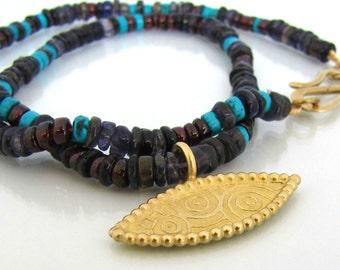 18k gold necklace, gold necklace, natural gemstone necklace, ethnic necklace, statement necklace, real gold necklace, egyptian necklace
