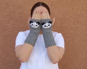 Panda Fingerless Gloves, Grey, Gray Fingerless Gloves for Men, Women, Unisex Arm Warmers, Fingerless Mittens, Sleeping Panda MADE TO ORDER