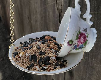 Bird Feeder with Bird's Seed, Bone China Japan, Antique Teacup & Saucer with Single Bag Bird Seed, Gold Trim and Chain, Item #594769787