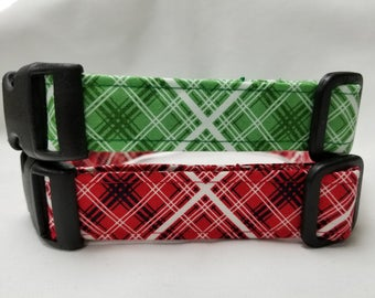 Plaid  Dog Collar - Red or Green