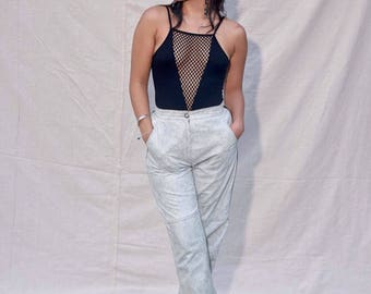 1980s Artico leather high waisted pants