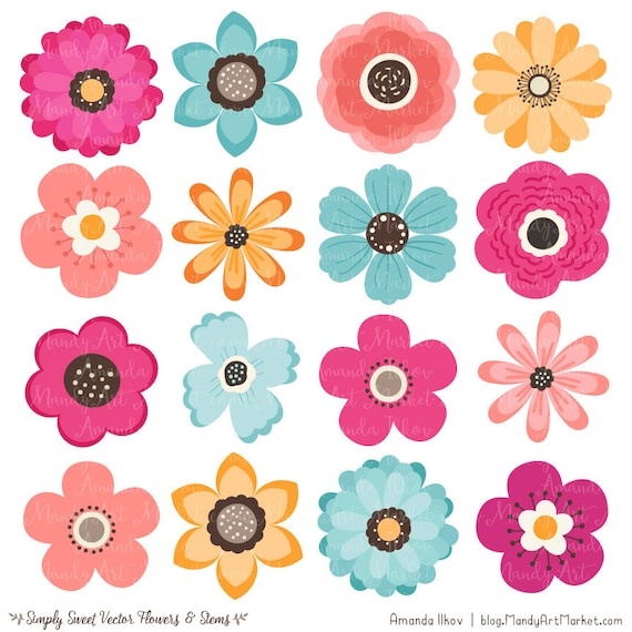 cute flowers clipart in bohemian bohemian vector flowers bohemian rh etsystudio com Flower Border Clip Art Simple Flowers Outlines Clip Art
