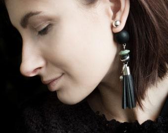 Long Earring, Tribal earring, Double sided earrings, Leather Earrings, Tassel Earring, Ethnic Earrings, Double Pearl Earring, Black Earring,