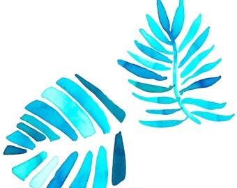 Aqua Palms Print