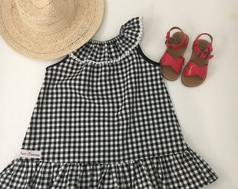 Gingham Check Dress- baby girls dress- girls dress- black and white dress- boho girls dress- modern girls dress- fall dress