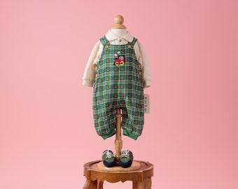 Vintage Green Plaid Train Appliqued Overalls/Shirt/Shoes Set NWT (Size 3/6 Months)