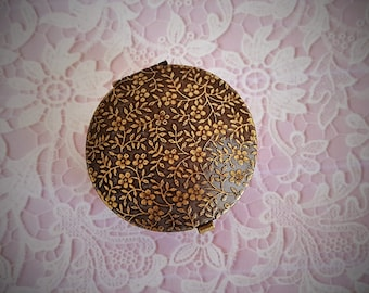 "Ready to Fill (Empty) Solid Perfume Compact, Antique Brass Finish, 38mm Round with Refillable Pan  -  ""Melinda"",   #1379"