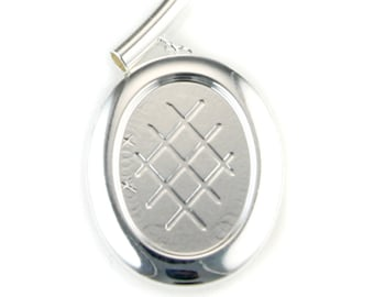 Silver Plated Tube Top Pendant with 25x18mm Cup