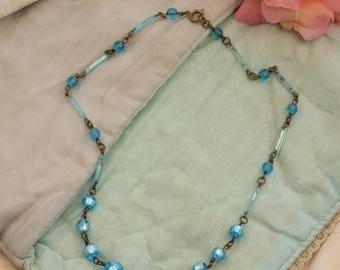 Vintage foil glass bead necklace