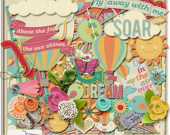 Up In The Air Hot Air Balloons Dream Digital Scrapbook Kit
