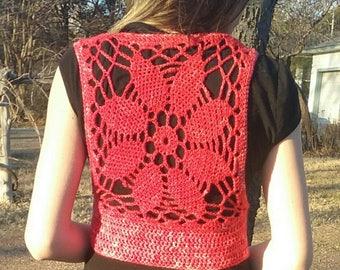 Red Circular Crochet Vest