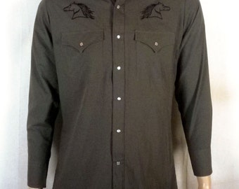 vtg NWOT nos Plains gray/olive Western Shirt Embroidered Horses Pearl Snap sz S