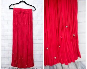 Vintage 1980s Stonebridge Jerrel Inc of Texas Gypsy Boho Cowgirl Western Studded Acetate Rayon Long Skirt XS