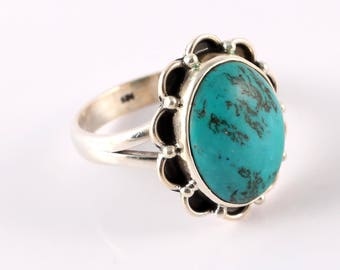 Turquoise 92.5 sterling silver ring size 8 us