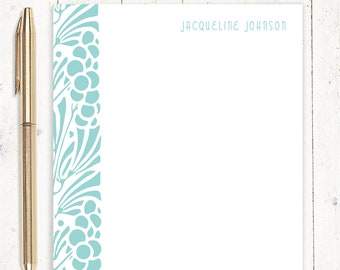 personalized notePAD - ART NOUVEAU FLORAL - stationery - stationary - fancy letter writing paper
