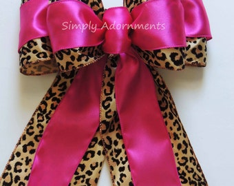 Pink Leopard Birthday Party Decor Pink Leopard Baby Shower Decor Elegant Leopard Print Bow Wedding Pew Bow Safari Party Decor Package Bow