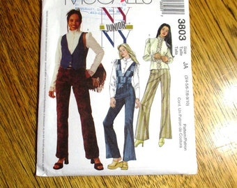Designer NY/NY Low Rise Bell Bottom Pants, Victorian Blouse & Fitted Vest - Junior's Sizes - UNCUT ff Sewing Pattern McCalls 3803