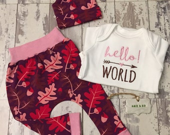 Organic Baby Clothes. Baby Gift Set. Organic baby leggings. Newborn gift. Baby Girl's Outfit. Baby Girl's Vest, 0-3 months. Baby Outfit