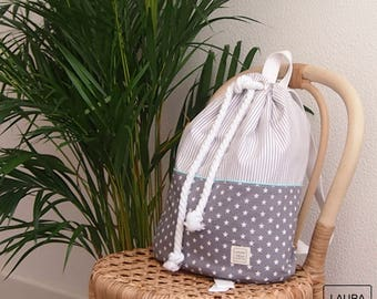 Backpack sailor of cotton with waterproof backing. stripes and gray stars. Beach, pool Backpack Backpack.
