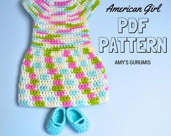 Crochet Pattern American Girl Doll Dress & Shoes
