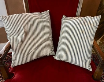 Vintage Feather Pillow Insert in Original Ticking. (2) Available. Throw Pillow Insert, Accent Pillow.