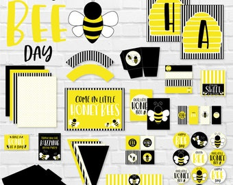 Bee Birthday Party PRINTABLES (INSTANT DOWNLOAD) by Love The Day