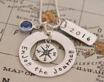 Enjoy the Journey Necklace, Compass Necklace, Travel Jewelry, Deployment, Graduation Gift, Hand Stamped Necklace, Personlized Jewelry