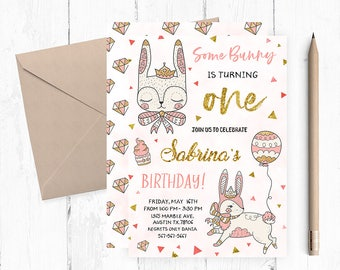 Bunny Invitation, Bunny Birthday Invitation, Some Bunny Invitation, Some Bunny is one invitation, Bunny Birthday Invitations, Bunny invites,