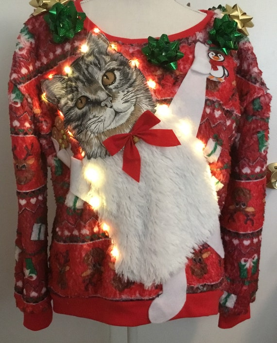 UGLY CHRISTMAS Sweater Party, Chickens, Chicks, Rooster, Lights Up! One of a Kind Winner! Men XL