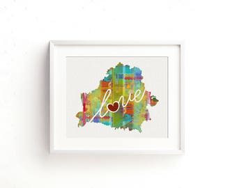 Belarus Love - Colorful Watercolor Style Wall Art Print & Home Country Map Artwork - Adoption, Moving, Engagement, Wedding Gift and More