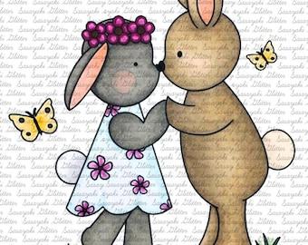 Bunny Be mine digital Stamp by Sasayaki Glitter