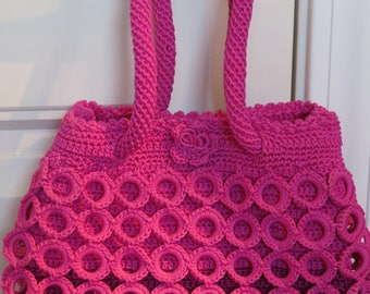 "PINK Crochet Small Hand BAG, Unique, Funky, 6.5 x 9.5"" (#31J)"