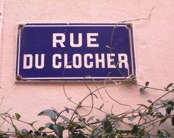 Street Photography, Do It Yourself Wall Art, Graphic Photography, European Photography, Word Art, IPhone Wallpaper - Rue de Clocher