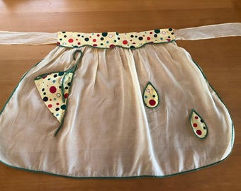 Pale Yellow Apron with Polka Dots
