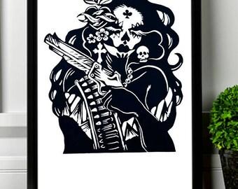 Dia de los Muertos Chicano Mexican Skull Decor, Skeleton Poster, La Catrina Mexican Folk Art Skull Print, Calavera Chicana Mexican Wall Art